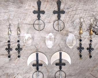 Inverted Cross - Earrings - Goth - Gothic - Dark - Silver - Black - Occult - Witchy - Jewelry - Rosary - Spooky - Brass