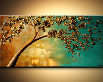 Landscape Blooming Trees Painting Original Abstract Modern Palette Knife Acrylic Turquoise Gold by Osnat - MADE-TO-ORDER