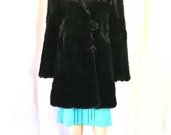 1930's Sheared black beaver fur jacket sz. S