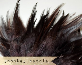 50 pcs+ - BROWN - Rooster Saddle feathers - 2 inch strip - two-tone, pointy tip, shiny feathers, exotic feathers (RS013)
