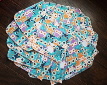 Set of 15 owl double layer flannel cloth baby wipes family cloth reuseable toilet paper