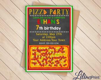 Pizza Party Birthday Invitation, Pizza Invite, Pizza Party Birthday Party, Digital file (5)