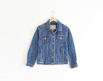 WORN DENIM JACKET || size womens x small || 90s || jean || faded || classic || eddie bauer || distressed || utilitarian || boxy || vintage!