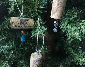 Wine Cork Ornament/ Wine Bottle Charm Set