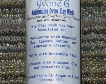 All Natural Moisturizing Detox Clay Wash (Coconut Oil)    Hair Cleanser   Chemical Free   All Natural