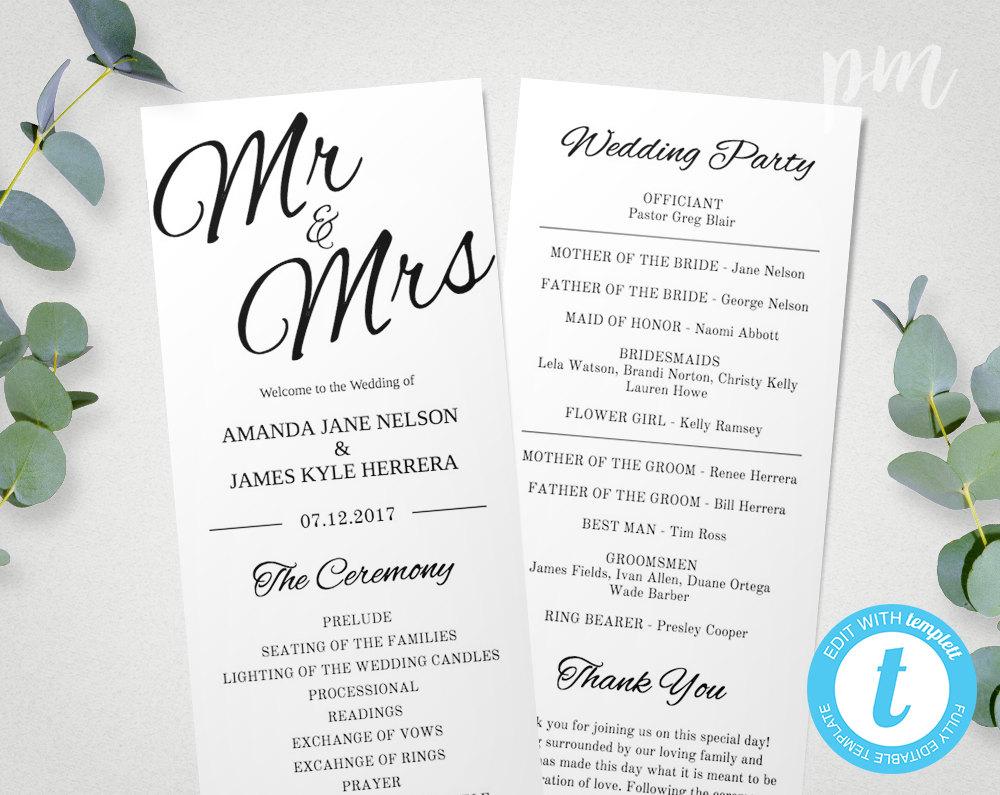printable wedding program template mr  u0026 mrs instant download