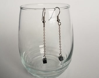 Dainty Black Cube Drop Earrings