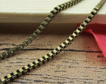 5M Length Small Cube Chains-2x2mm,Necklace Chain,Bracelet Chain, Antique Bronze Tone-CS028