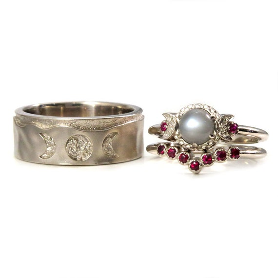 His and Hers White Gold Triple Moon Goddess Wedding Ring Set - Gray Moonstone and Rubies