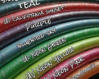 """Silver Glitter Colored 5/8"""" PolyPro Hula Hoop - You Choose Color and Size for the Hoop"""