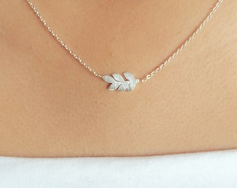 Tiny Silver Leaf Necklace, Dainty, Simple, Cute