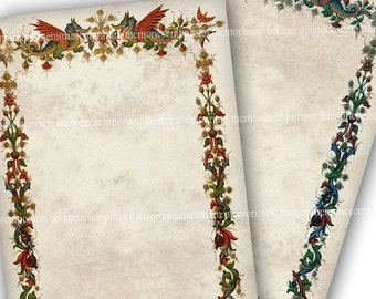 Dragon Paper Antique Stationery Illuminated Printable Digital Download Pages for Weddings Parties Invitations Renaissance Dragon Border 718