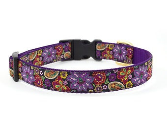 Floral Dog Collar // Size S-L // Adjustable Length // Pattern: Purple Fall Floral