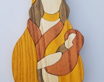 Wooden Mother w/ Baby