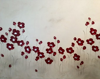 Naomi Crowther painting 'Old School Poppies' 90x120cm
