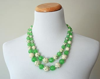 Vintage White and Green Costume Jewellery Double Strand Necklace