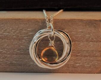 6 Rings Citrine Necklace, November Birthday, Citrine Gemstone, 60th Birthday Necklace, 6 Rings Necklace, Yellow Gemstone, Gift for Mom,