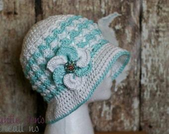 Instant Download-Crochet Pattern-Bonnie Bell Sun Hat Pattern