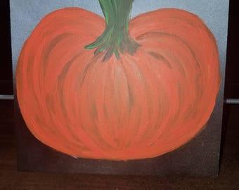 Hand Painted Clay Tile - Pumpkin Halloween