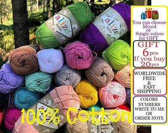 20 skeins, Alize Bella, %100 Cotton yarn, Crochet yarn, knitting yarn, baby yarn, soft yarn, hypoallergenic yarn, sport yarn, cotton yarn