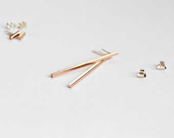 Rose Gold Long Bar Earrings - Dangle Stud Earings - Pink Gold Square Lines - Blush Pink Ear Bars - Handmade in Brooklyn by Hook and Matter