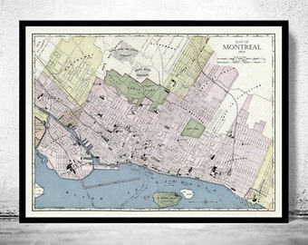 Old Map of Montreal, Canada 1903 Vintage Montreal map