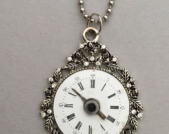 Floral Bordered Clock Necklace