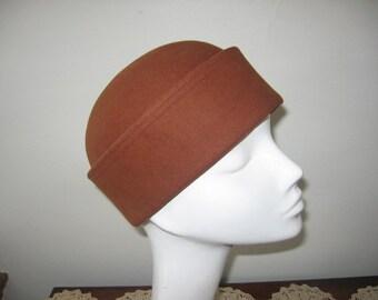 1960's Cinnamon Fur Felt Cap, French Designer Label!