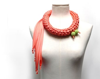 Crochet Statement Necklace - Peach Pink / Orange Upcycled Jersey Yarn - Jersey Scarf Cowl - Crochet Jewelry - Textile Necklace