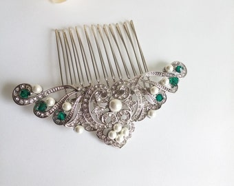Silver green hair comb Emerald bridal hairpiece Dainty hair comb Flapper hair silver green wedding hair clip Art deco bride clip 1920 hair