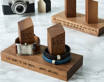 Personalised Watch and Bracelet Stand / Gift for Him / Father's Day Gift / Personalised Jewellery storage for him