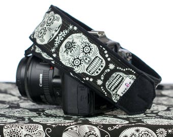 Sugar Skulls dSLR Camera Strap, Glow in the Dark, Dia de los Muertos, Replacement Strap, SLR, Mirrorless, , Camera Neck Strap, 237