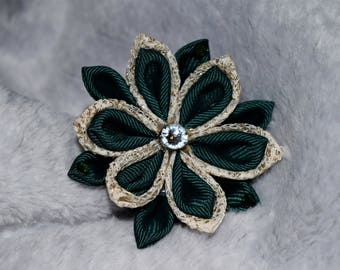 Lace and Hunter Green Kanzashi Flower with Swarovski Crystals