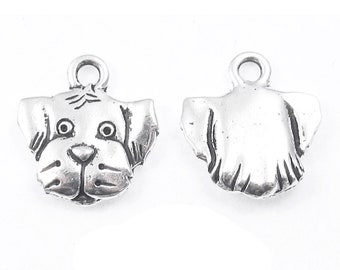 TierraCast Lead-Free Pewter Puppy Dog Charms-Silver SPOT (2 Pcs)