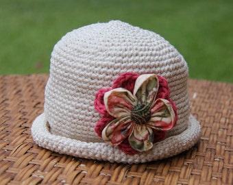 crochet hat & flower