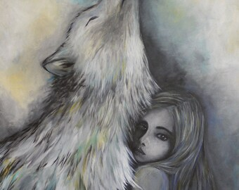 original acrylic painting on canvas, child, girl, wolf, dark