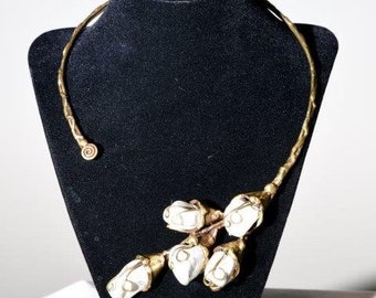 Antique Brass Asymetrical Collar Necklace With White  Howlite