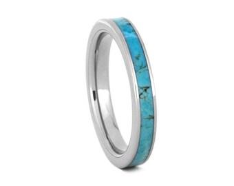 Women's Turquoise Wedding Band, Handmade Turquoise Ring For Her, Titanium Wedding Ring