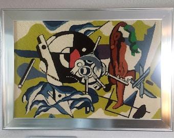 Au milieu du siècle tapisserie Mod Art abstrait