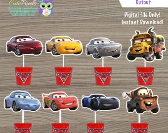 Cars Centerpiece, Cars Cake toppers, Disney Cars Birthday, Lighting Mcqueen Topper, Cars Birthday decor, Cars cut outs, Cars Cutouts