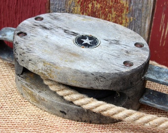 Barn/Canal Boat Pulley Block and Tackle Boston & Lockport maker's mark
