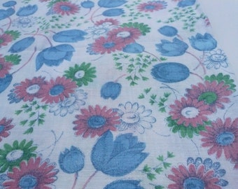 Vintage Feed Sack Remnant Pink and Blue Flower  Print   18 by 21 Inches