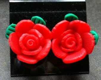 Small Red Poly Clay Flower Post Earrings