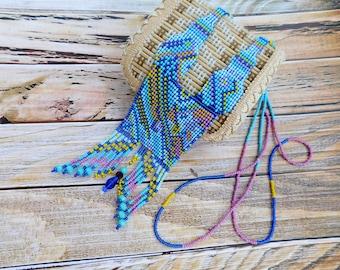 Statement beadwork necklace, blue beaded necklace, seed bead necklace, gerdan