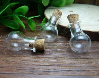 5pcs 14x20mm Handmade Clear Glass Bottles  Clear Glass Globe/ Glass Bottle/ Glass Bulbs  N122