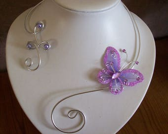 Bridal necklace wedding party holiday beads purple lilac Purple Butterfly ceremony Silver Aluminum wire