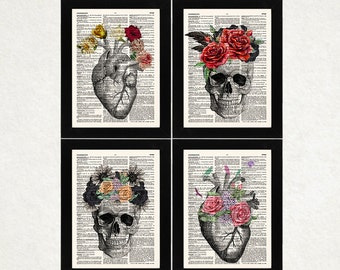 Anatomy Prints, Anatomical Art Prints, Set of 4, Anatomy Heart, Sugar Skull, Doctor's Gift, Flowers