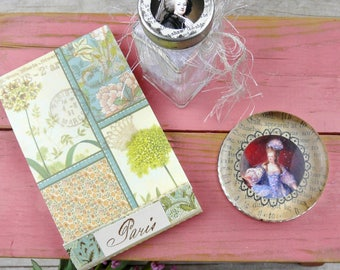 Marie Antoinette paperweight collection - notepad french beads handmade