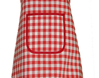 One central Red GINGHAM apron with Pocket size