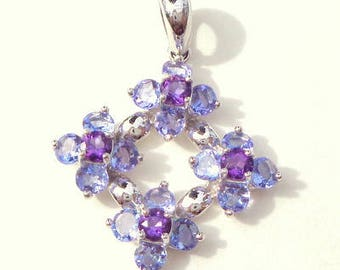 Solid 14k White Gold 1.76 CTW Tanzanite & 0.40 CTW Amethyst Floral Pendent, Sweetheart Gift, Natural Gemstone Pendent
